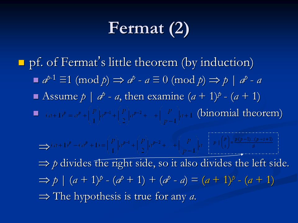Fermat (2) pf. of Fermat's little theorem (by induction)