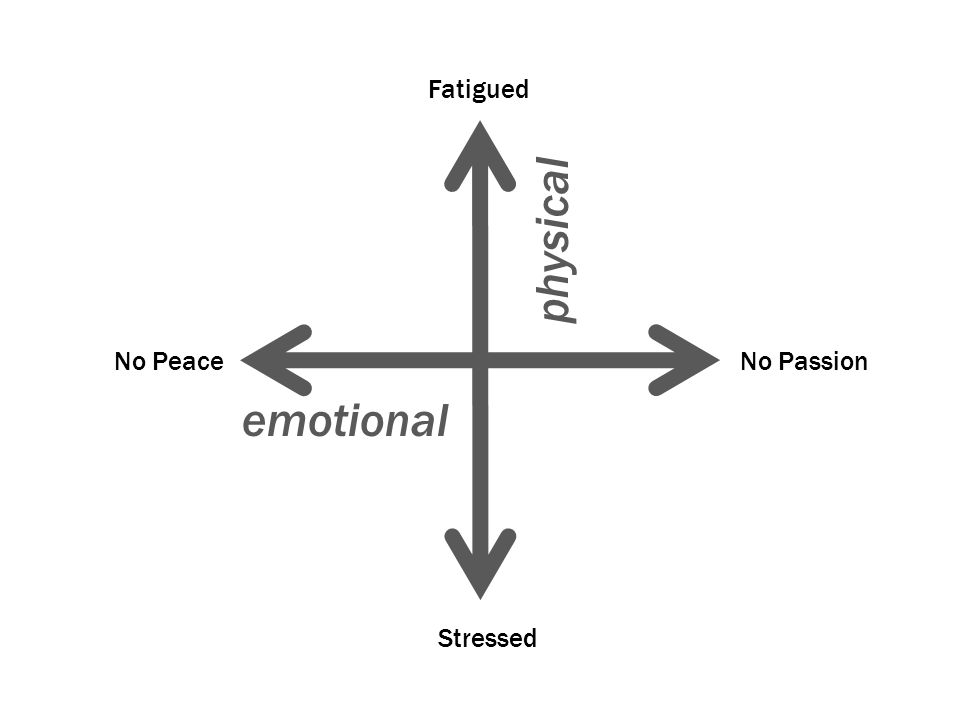 Fatigued physical No Peace No Passion emotional Stressed