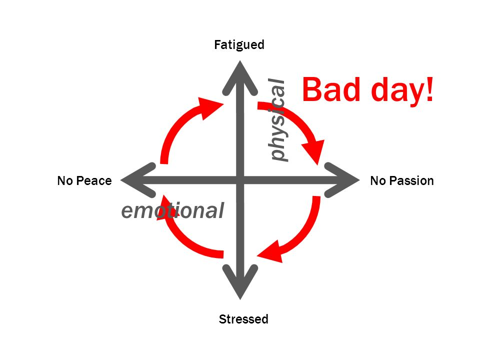 Fatigued Bad day! physical No Peace No Passion emotional Stressed