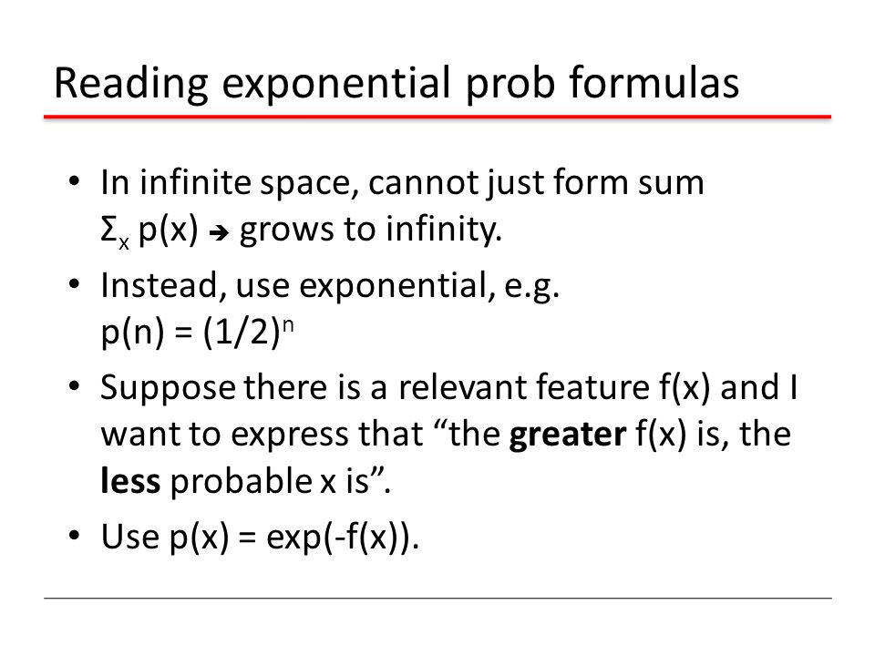 Reading exponential prob formulas