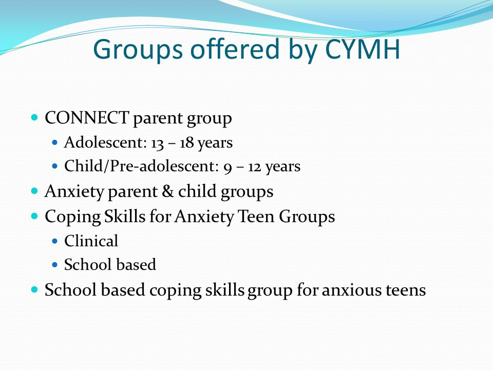 Groups offered by CYMH CONNECT parent group