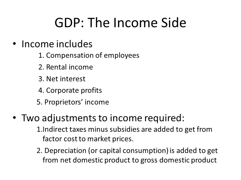 GDP: The Income Side Income includes