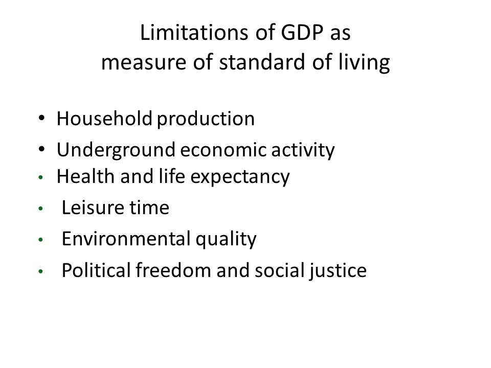 Limitations of GDP as measure of standard of living