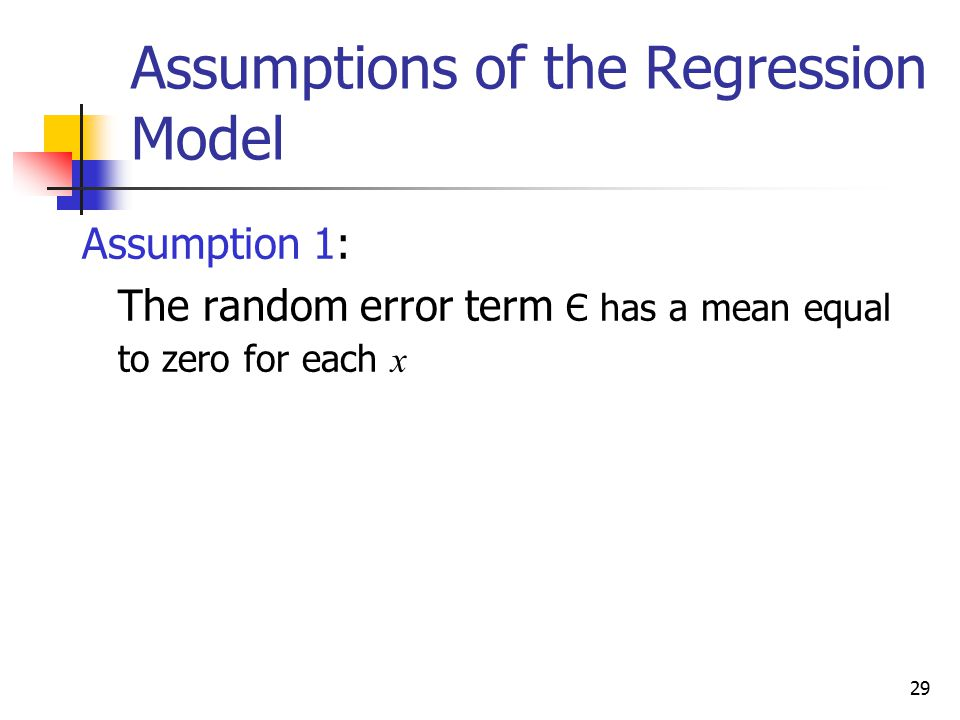 Assumptions of the Regression Model