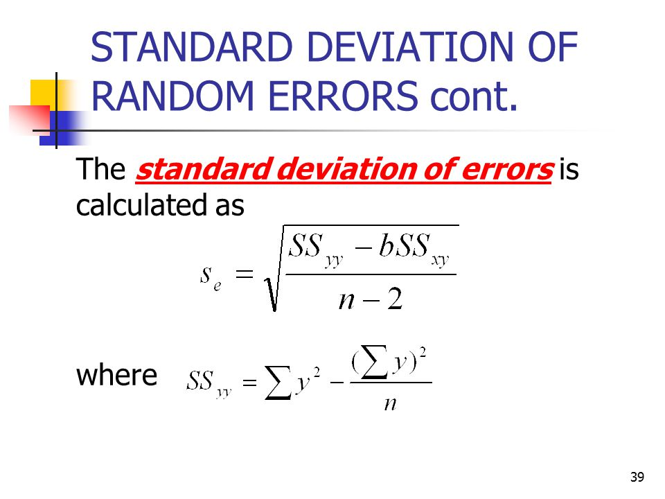 STANDARD DEVIATION OF RANDOM ERRORS cont.