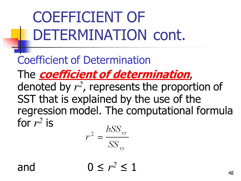 COEFFICIENT OF DETERMINATION cont.