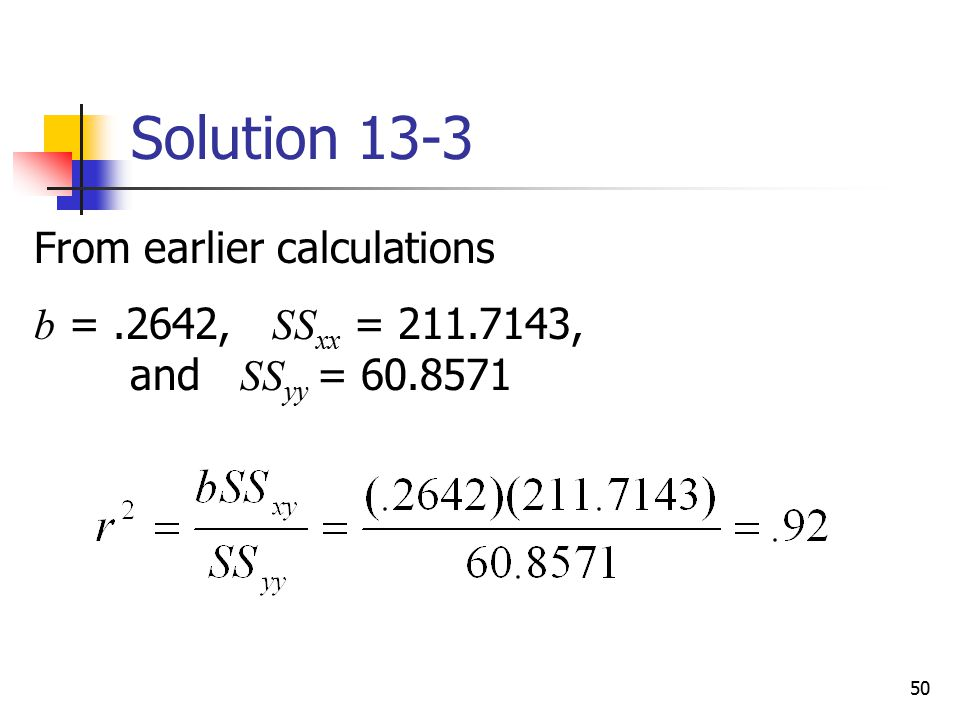 Solution 13-3 From earlier calculations