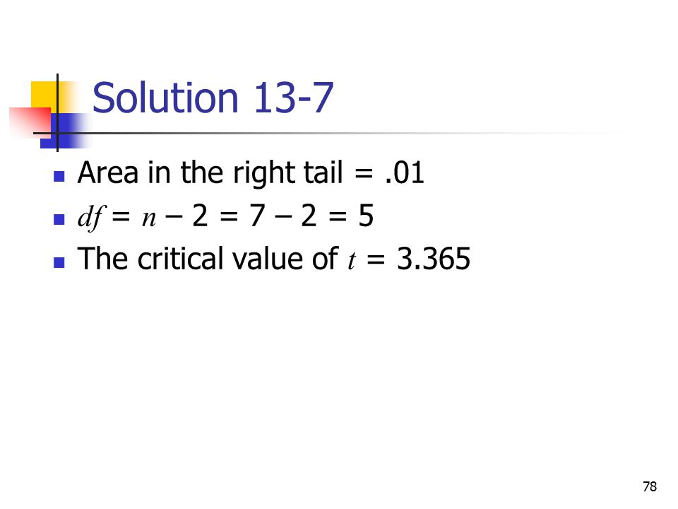 Solution 13-7 Area in the right tail = .01 df = n – 2 = 7 – 2 = 5
