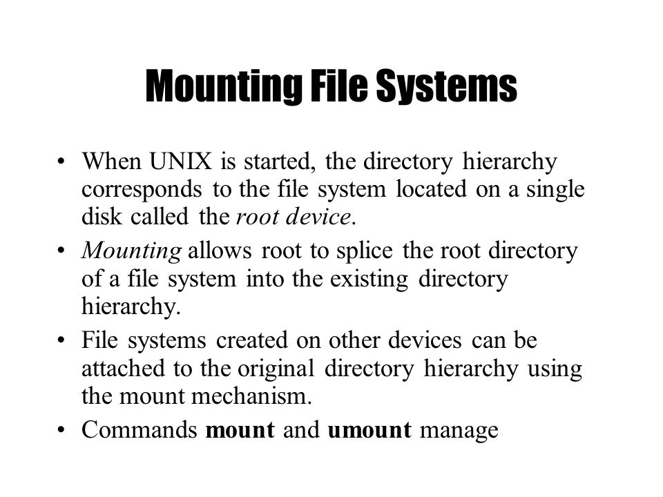 UNIX Basics The UNIX Filesystem - ppt video online download