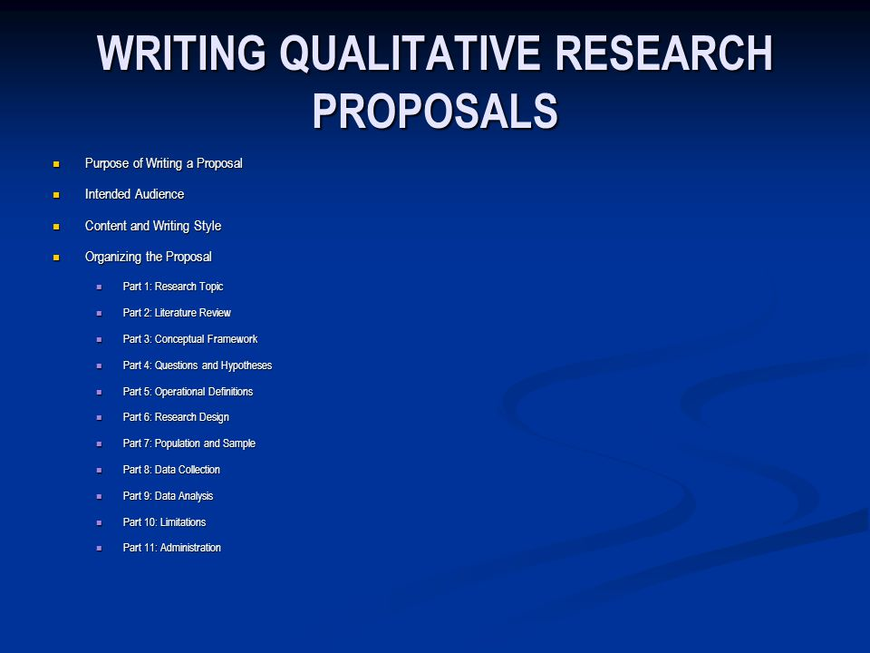 qualitative proposals and reports