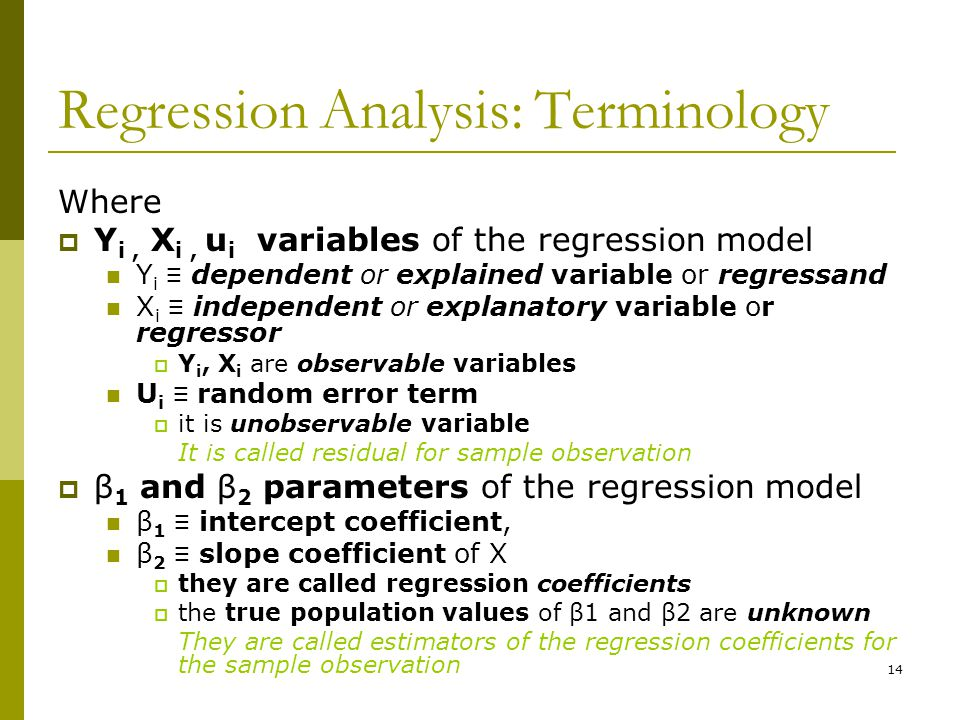 Regression Analysis: Terminology