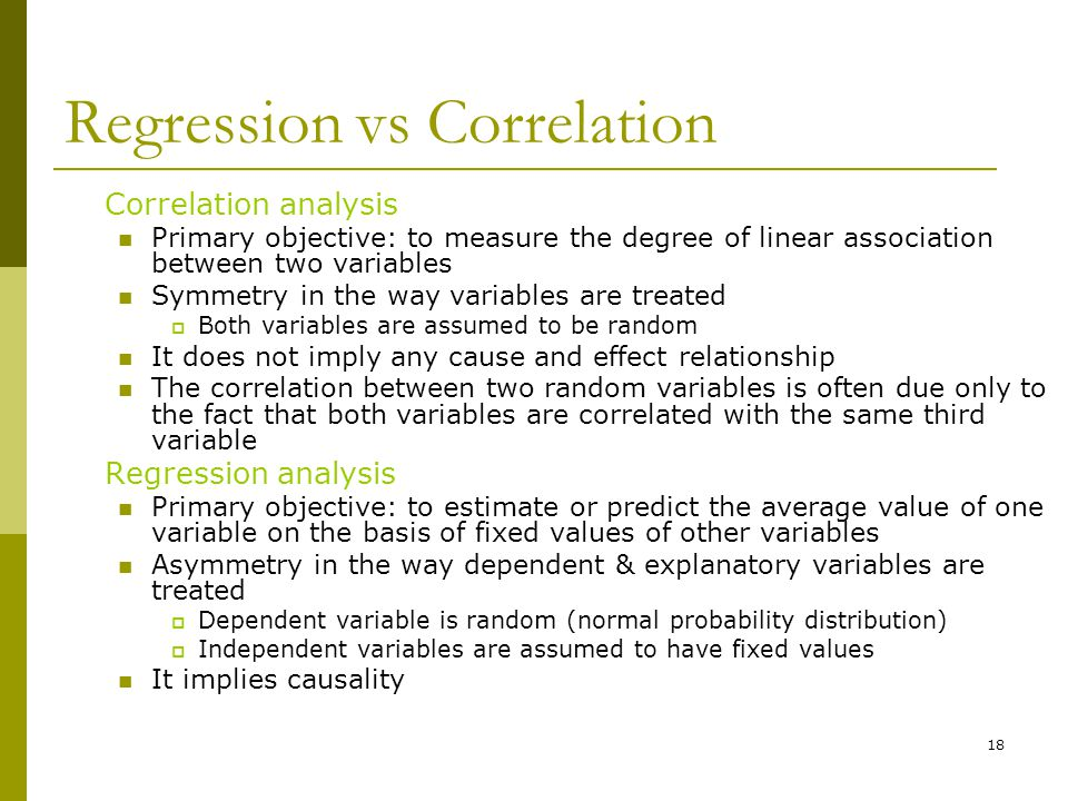 Regression vs Correlation
