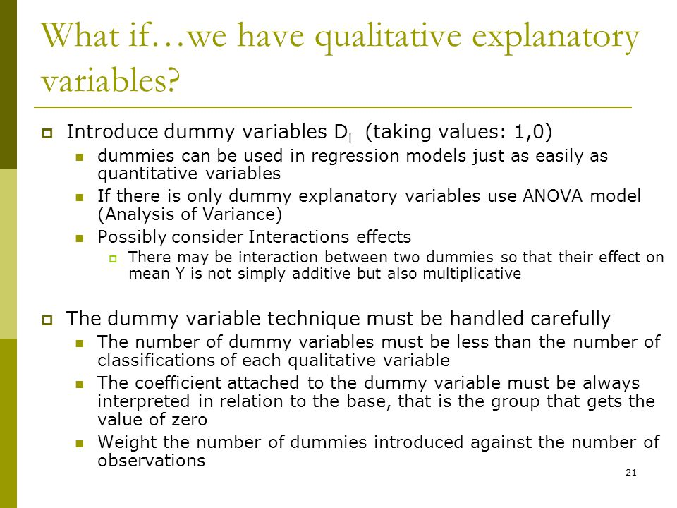 What if…we have qualitative explanatory variables