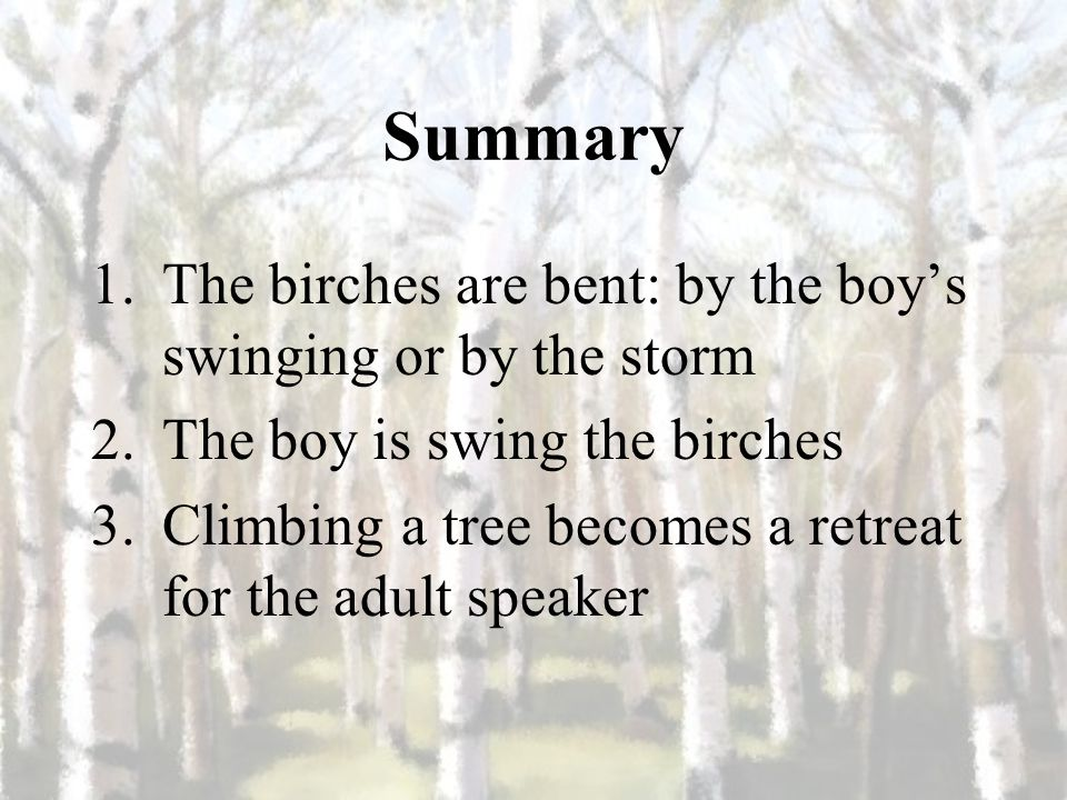 birches by robert frost questions and answers
