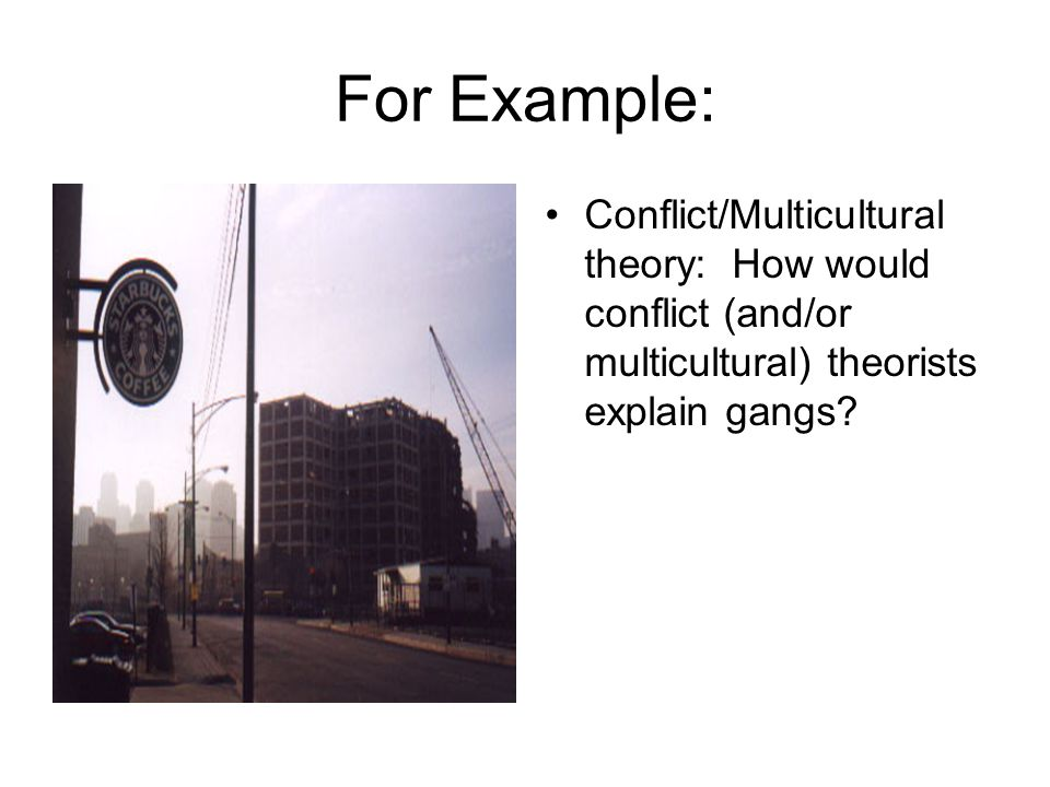 For Example: Conflict/Multicultural theory: How would conflict (and/or multicultural) theorists explain gangs