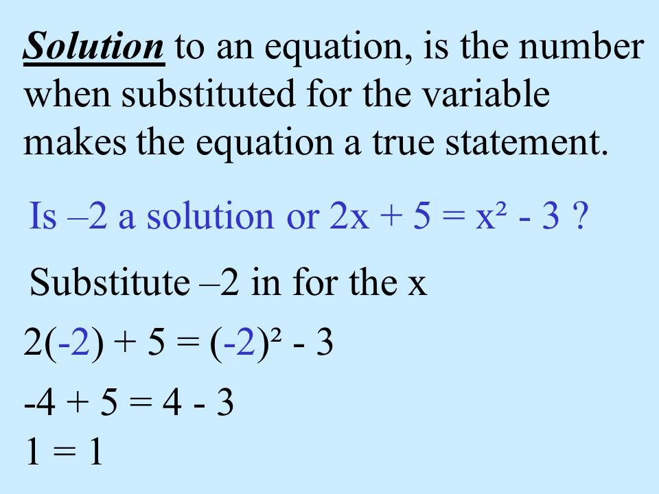 Solution to an equation, is the number