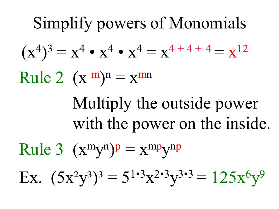 Simplify powers of Monomials