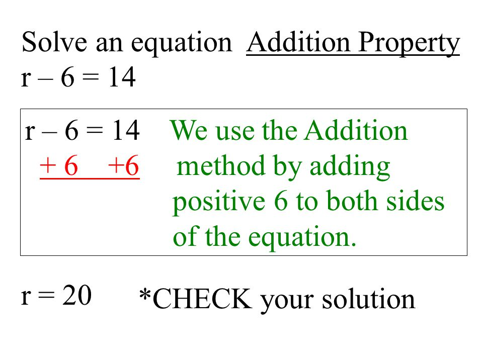 Solve an equation Addition Property