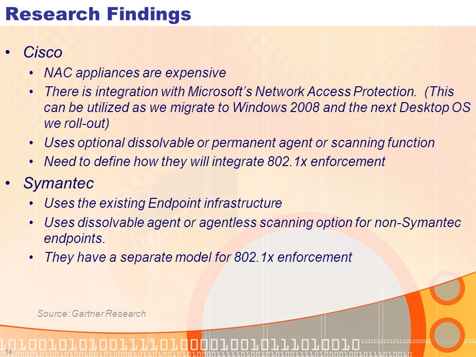 Research Findings Cisco Symantec NAC appliances are expensive