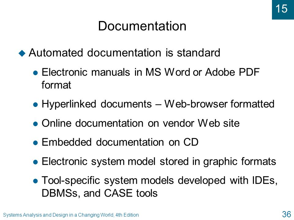 system analysis and design documentation format