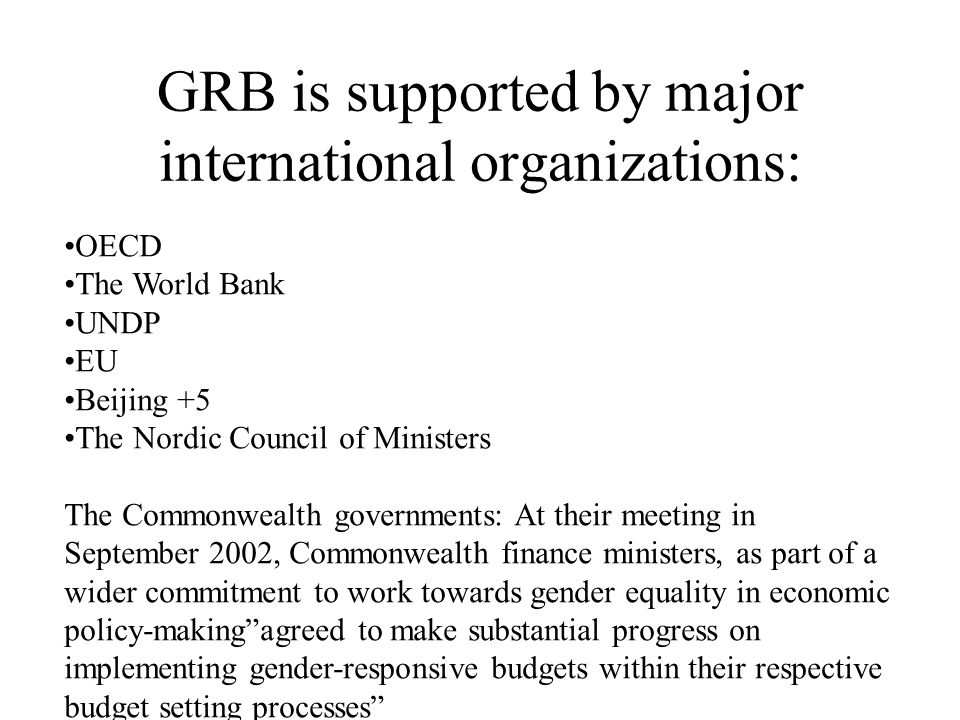 GRB is supported by major international organizations: