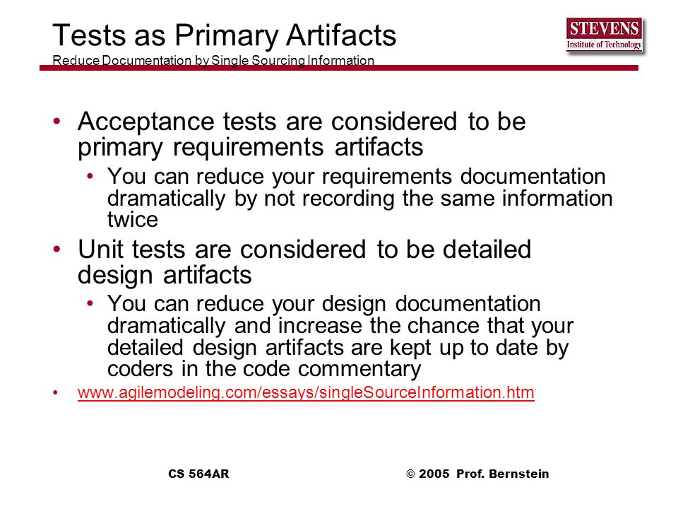 Tests as Primary Artifacts Reduce Documentation by Single Sourcing Information