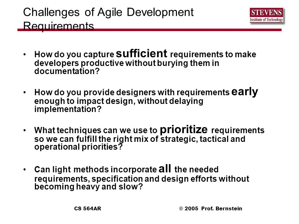 Challenges of Agile Development Requirements