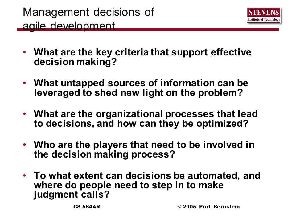 Management decisions of agile development