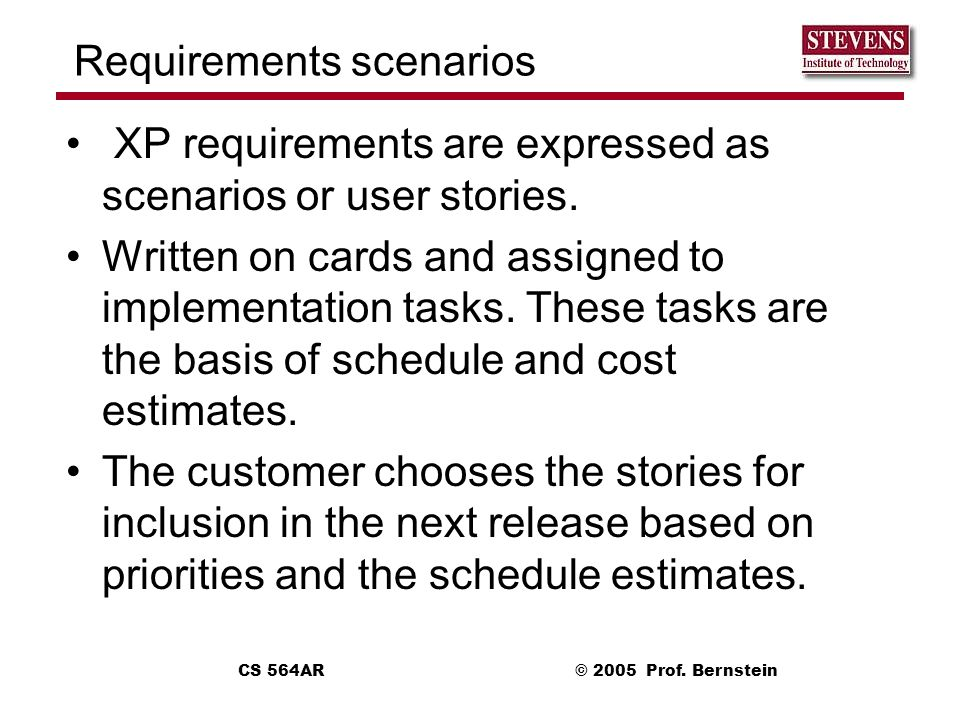 Requirements scenarios