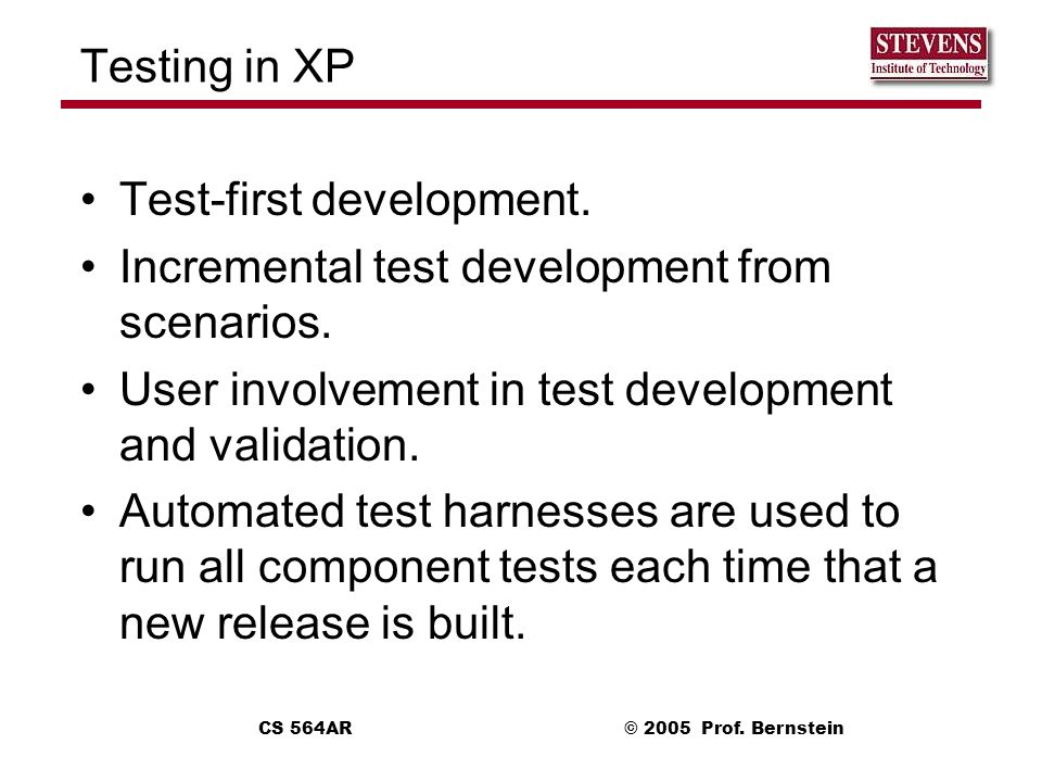 Test-first development. Incremental test development from scenarios.