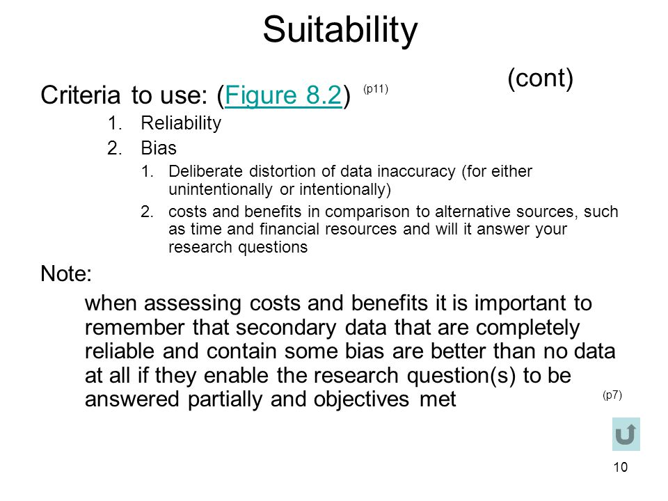 Suitability (cont) Criteria to use: (Figure 8.2) Note: