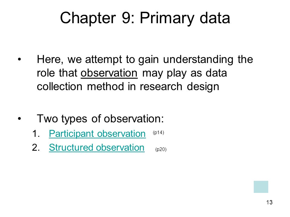 Chapter 9: Primary data Here, we attempt to gain understanding the role that observation may play as data collection method in research design.