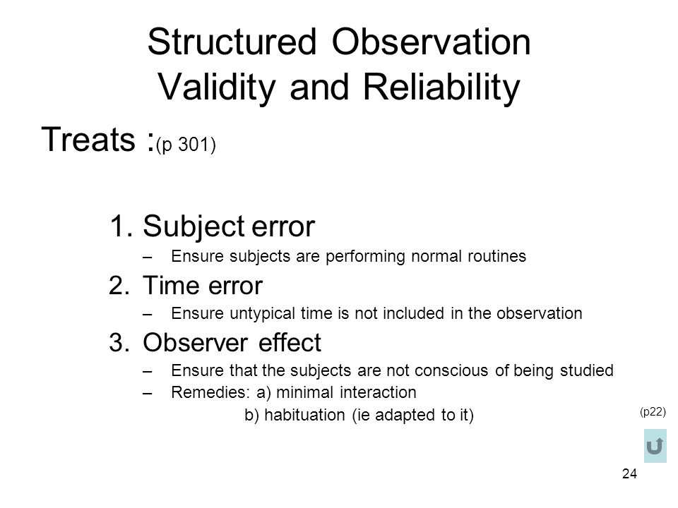 Structured Observation Validity and Reliability