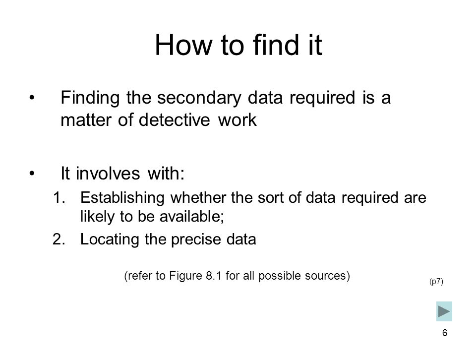 How to find it Finding the secondary data required is a matter of detective work. It involves with: