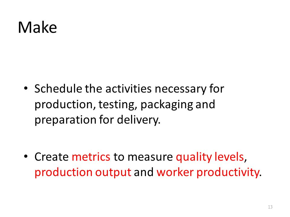 Make Schedule the activities necessary for production, testing, packaging and preparation for delivery.