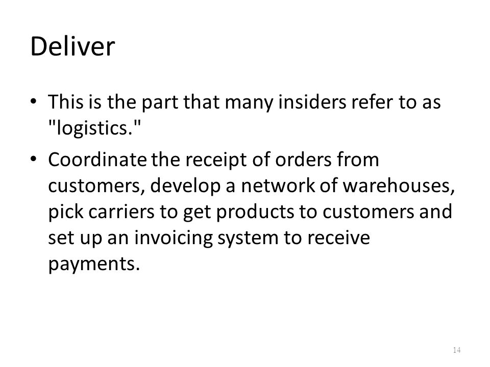 Deliver This is the part that many insiders refer to as logistics.