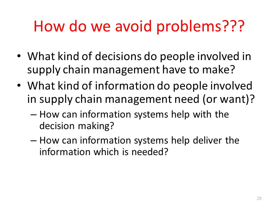 How do we avoid problems