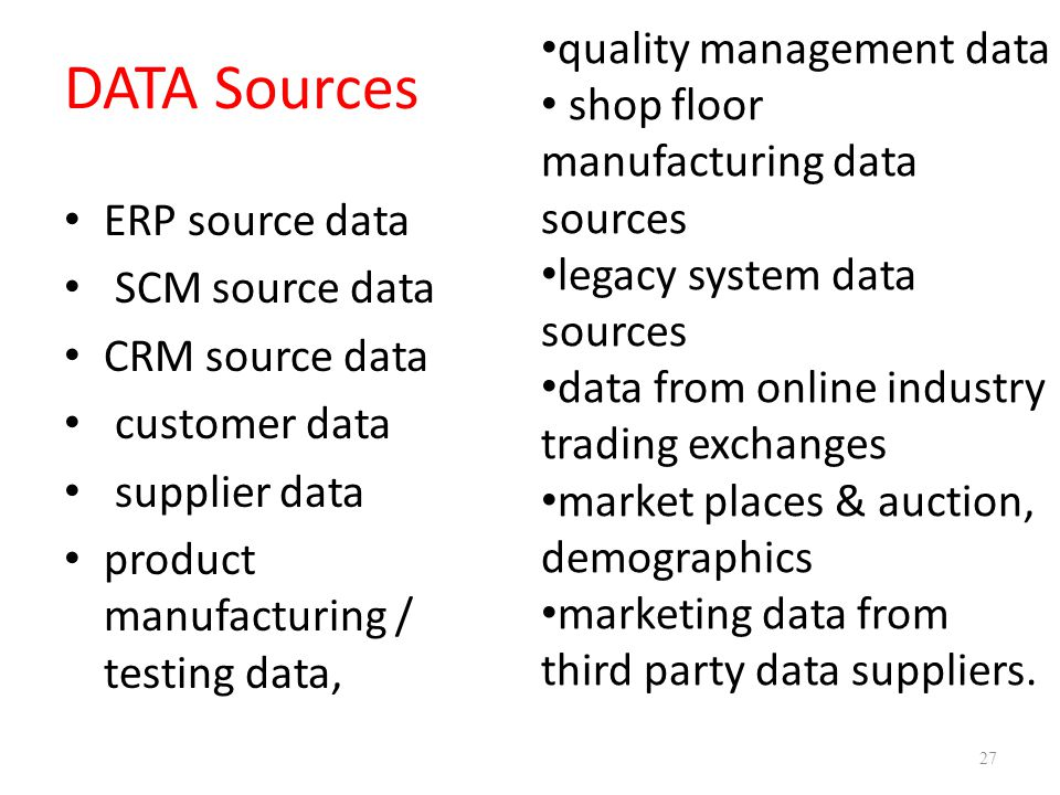 DATA Sources quality management data