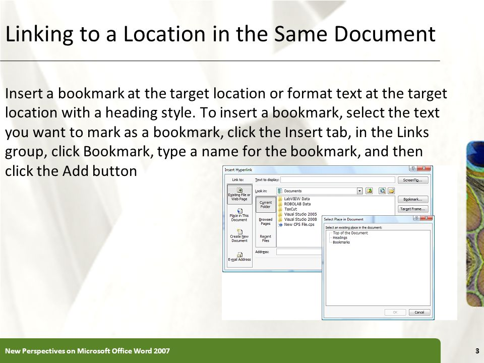 Linking to a Location in the Same Document