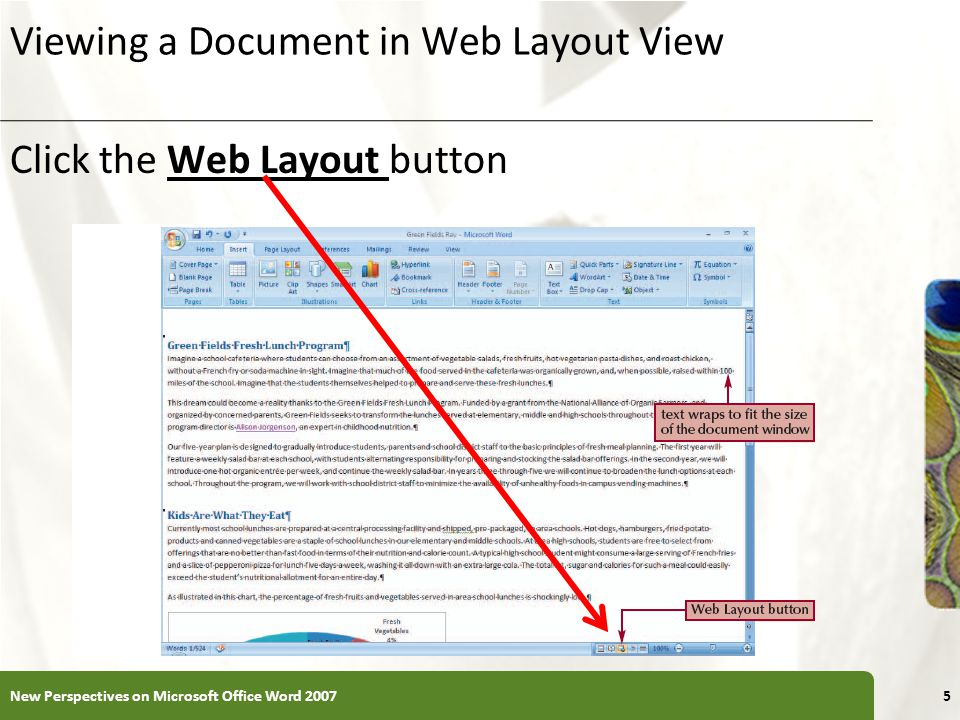 Viewing a Document in Web Layout View