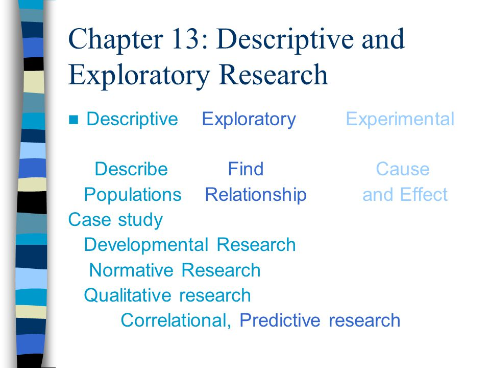 Chapter 13: Descriptive and Exploratory Research