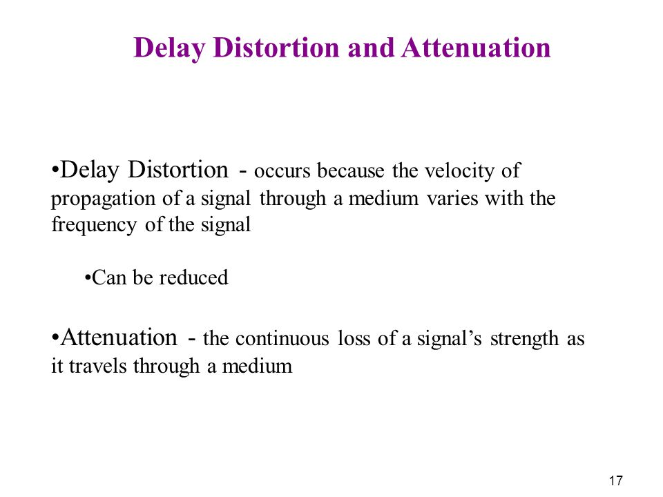 Delay Distortion and Attenuation
