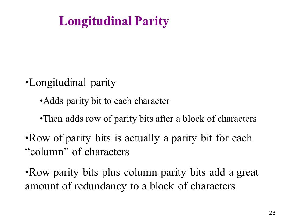 Longitudinal Parity Longitudinal parity