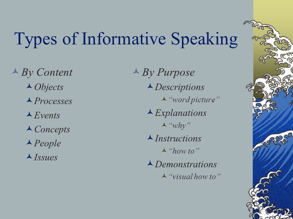 types of informative presentations