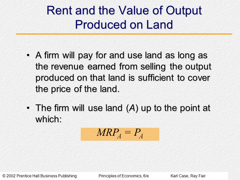 Rent and the Value of Output Produced on Land
