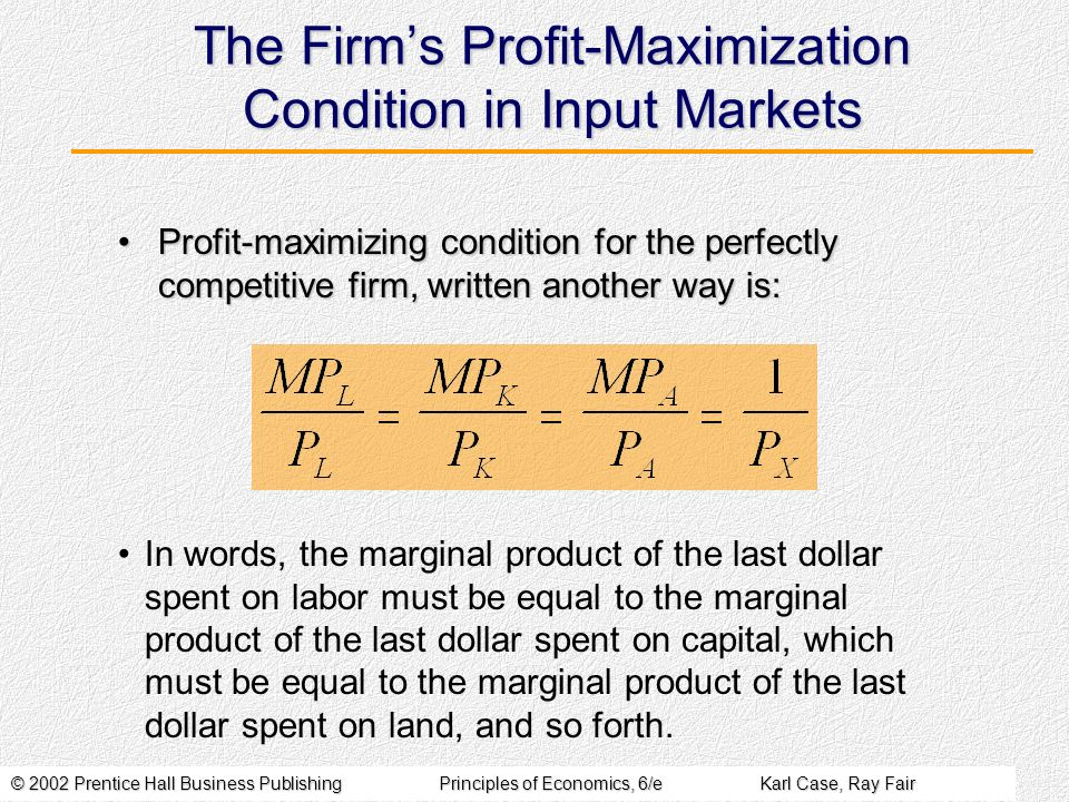 The Firm's Profit-Maximization Condition in Input Markets