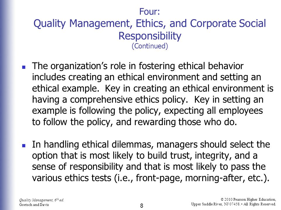 four quality management ethics and corporate social responsibility continued
