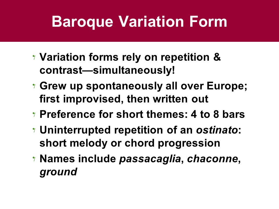 Baroque Variation Form