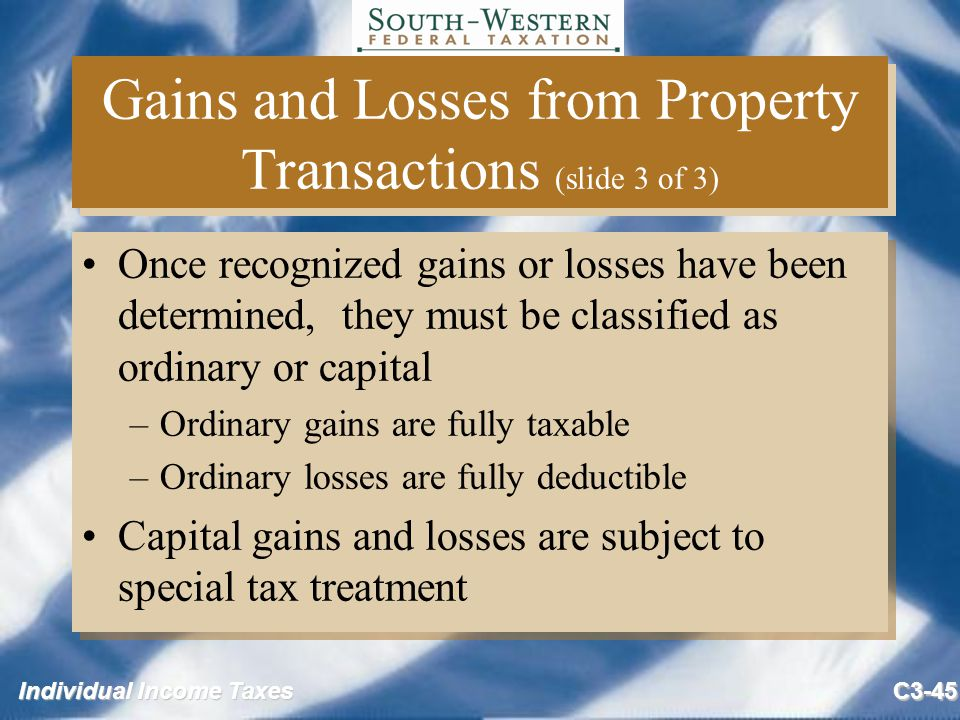 gain or loss from sale of uspri essay The tax court held that payments to a taxpayer from the sale of his consulting business that he reported as long-term capital gain from his goodwill should instead be taxed as ordinary income it held that the sales agreement that allocated amounts to the taxpayer as goodwill and to his wholly owned.