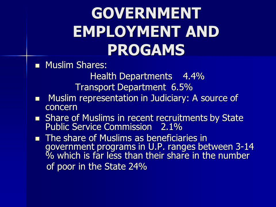 GOVERNMENT EMPLOYMENT AND PROGAMS